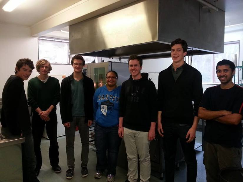 The tertiary team  pictured with Lisyon Heostel team leader (centre ) ready to cook  up a storm