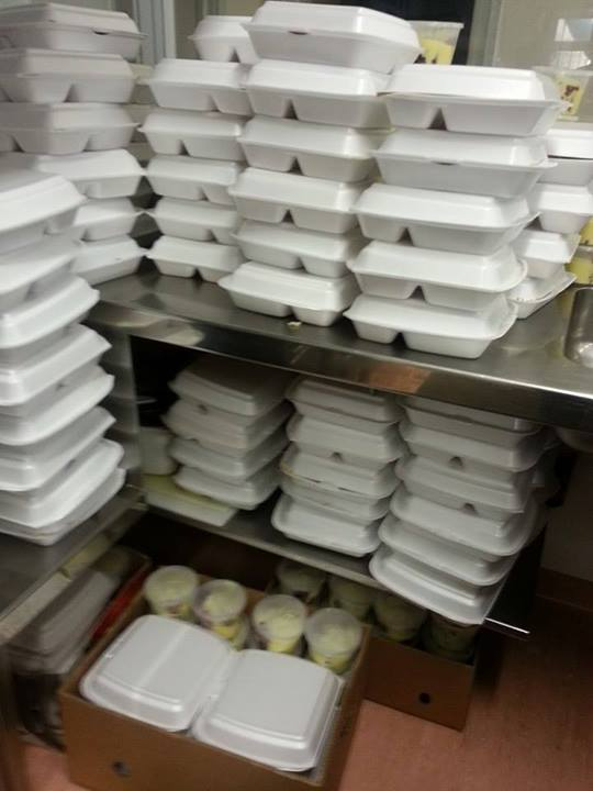 Meals packed ready to be distributed