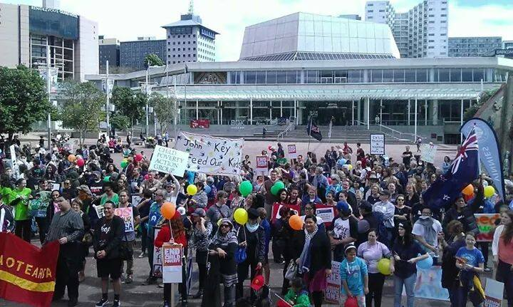 The march against child poverty concluding at Aotea Square