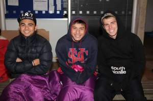Sacred Heart College students preparing for the cold night ahead