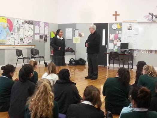 St Dominic's College Vinnies meet with Vincentian Owen Knock