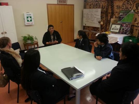 Students of Sancta Maria College meet with the staff and management of Monte Cecilia Housing Trust
