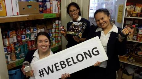 St Mary's College students pack the foodbank