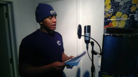 Students record their spoken word in preparation for the animation