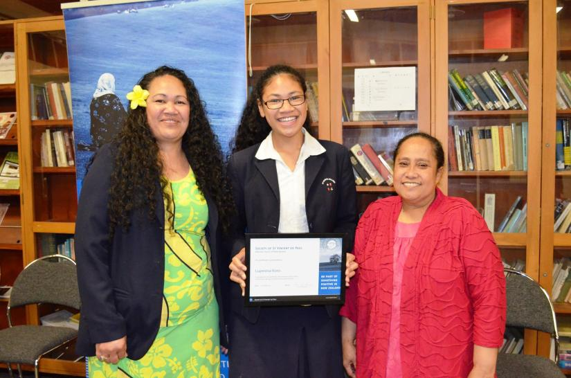 Vinnies Youth Executive Council President Lupesina Koro (centre) pictured wit her mother Lucy Koro(Left ) and her aunty.