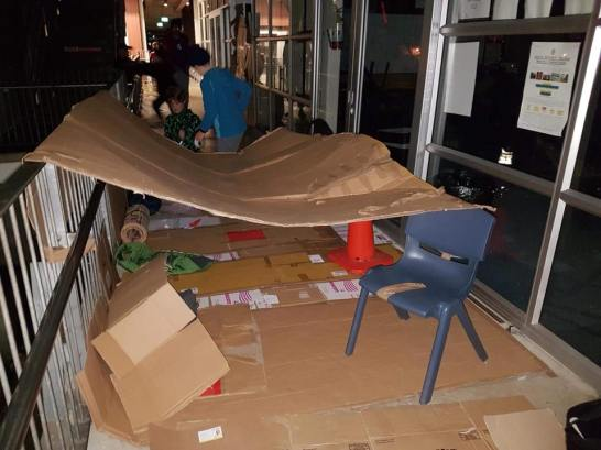 Students of St Peter's making their shelters