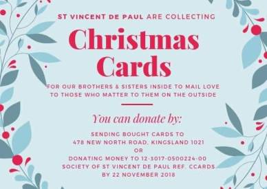 The call put out to everyone in order to collect Christmas Cards! Shout out to Yvonne Purcell, the main instigator of this project!